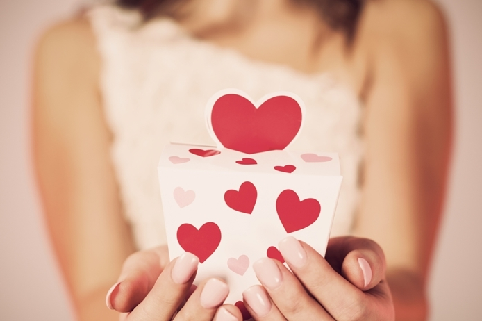 Close up of small gift with heart shape